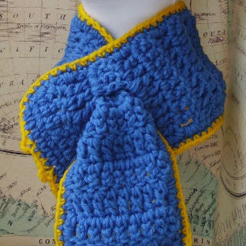 Blue Scarf, with Yellow Hem, Crochet