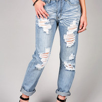 Shredded Boyfriend Jeans | Trendy Jeans at Pink Ice