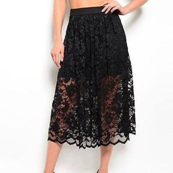 Women Fashion Black Midi Lace Skirt Bottom Casual Relaxed Fit Knee Length