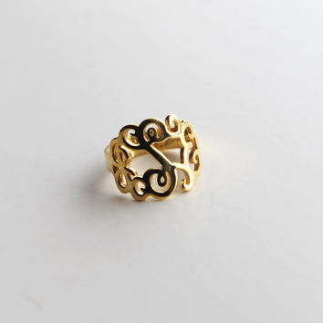 Initial monogram ring--Name ring--18k gold over Sterling silver monogram ring