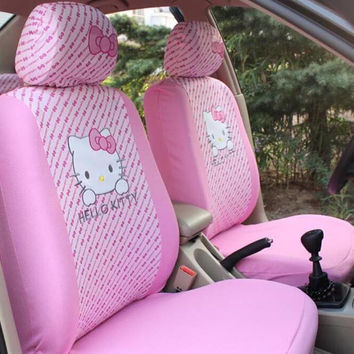 MeimeiBear Cute Pink Car Front Seat Covers Four Seasons KT Kitty Universal Car Seat Cover Interior Accessories for Women Girls