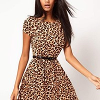 ASOS Skater Dress In Animal Print With Belt at asos.com