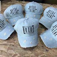 1 Bride & 6 bride tribe Baseball Cap Bride Hat, bachelorette party Denim Cap, Jean Cap,Bride Cap, Girlfriend gift, Low-Profile Baseball Cap