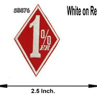 1 % White and Red Iron on Small Patch for Biker Vest SB876