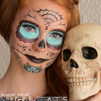 Sugar Skull  - Calavera - Temporary Costume Tattoos Makeup -  Halloween 2013