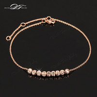 Anklets, Simple Metal Beads 18K Rose Gold Plated For Ankle