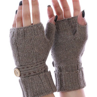 Khaki Button Embellished Hand Warmers