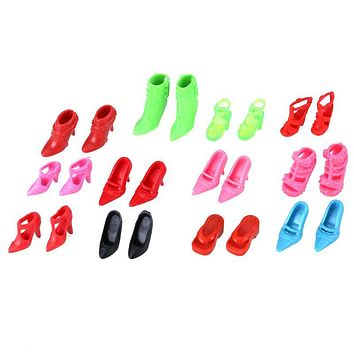 Fashion Doll Shoes Colorful Assorted High Heels Shoes Sandals for Barbie Doll Accessories Different Styles Mini Shoes