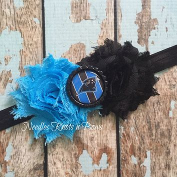 Girls Carolina Panthers Headband, Carolina Panthers Shabby Chic Headband, Baby Girls, Women