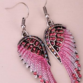 Colorful Angel Wings Antique Gold or Silver Colored Dangle Earrings