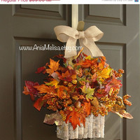 WREATHS ON SALE fall wreaths fall wreath berry berries fall autumn wreath front door wreath decor Thanksgiving wreath birch bark vase outdoo