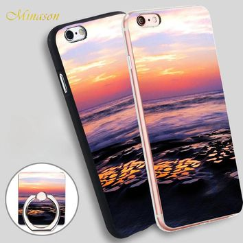 Minason Beautiful Sunset At The Ocean Mobile Phone Shell Soft TPU Silicone Case Cover for iPhone X 8 5 SE 5S 6 6S 7 Plus