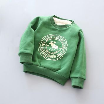 Boy Girls Sweater Clothes Children's thick Sweatshirts baby Fawn pattern Casual Kids Plus velvet  thick Tops Costume