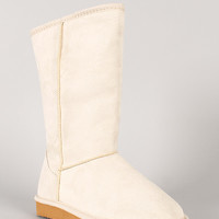 Qupid Oakley-01A Suede Round Toe Mid Calf Flat Boot