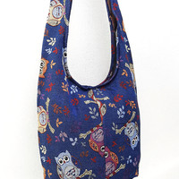 Woven bag Hobo Boho bag Shoulder Bag Sling bag Crossbody bag Long straps Owl Navy Blue
