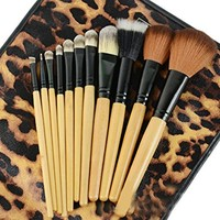 Emylike makeup Brushes 12pc Studio Pro Makeup Make Up Cosmetic Brush Set Kit w/Leopard Pattern Case - For Eye Shadow, Blush, Concealer, Etc (Leopard)