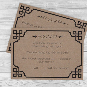Kraft Paper Wedding Response Template - Rustic Vintage Frame RSVP Card Editable PDF Template - Instant Download - DIY You Print