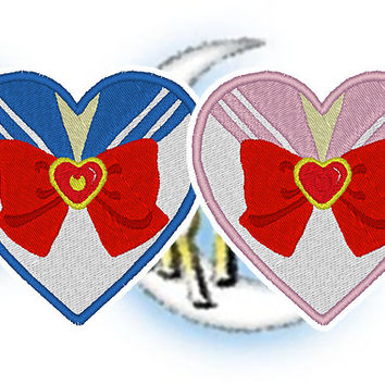 Sailor Moon Chibi Moon Sailor Senshi Heart Iron On Patch