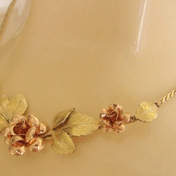 40s Vintage Krementz Gold Overlay Floral Necklace / Rose Gold / Yellow Gold / Designer Signed / Jewelry / Jewellery