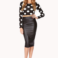 Sleek Faux Leather Midi Skirt