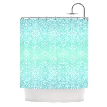 "Suzie Tremel ""Medallion Aqua Ombre"" Blue Teal Shower Curtain"