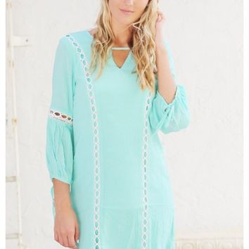 Mint shift dress with lace detail and three quarter sleeve | Reegan | escloset.com