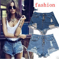 Summer Women Vintage High Waist Shorts Jeans Feminino Ripped Hole Short Jeans Denim Female Distress Cutoffs Shorts