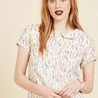 Play Tell Top in Feathers | Mod Retro Vintage Short Sleeve Shirts | ModCloth.com
