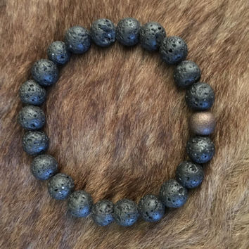 Men's Bead Lava Bead Bracelet with copper bead