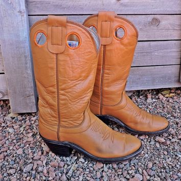 Vintage cowgirl boots 6.5 EU 37 / 70s Olathe boots / 1970s brown leather cowboy boots / Olathe KS made in USA
