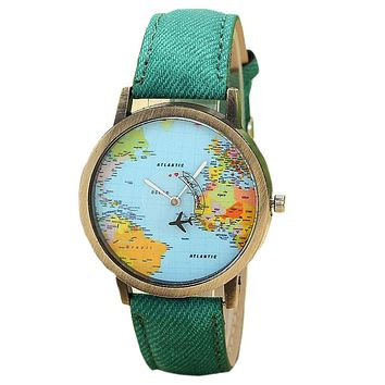JECKSION Women Dress Watches,Fashion Global Travel By Plane Map Denim Fabric Band Watch Women  7Colors