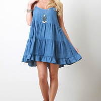 Chambray Three Tiers Dress
