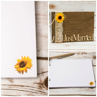 Wedding Guest Book Sunflower Wedding Guestbook Wooden book Rustic Guest Book Pen