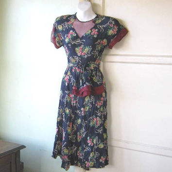 Flawed 1930s Flowerl/Hat Print Blue Dress for Project/Fabric/Upcycling~Midi-Length 1930s-1940s True Vintage Day Dress with Tie