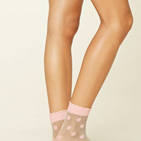 Sheer Polka Dot Crew Socks