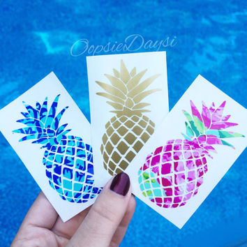 Pineapple Decal Sticker Car Decal Preppy Summer Beach Tropical Island Lilly Pulitzer Print Custom Yeti Water Bottle Laptop Phone Case Decor