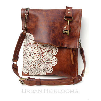 Leather Boho Messenger Bag With Antique Key And Crochet Lace L
