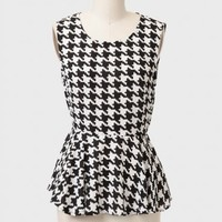 Streets Of London Houndstooth Peplum Top