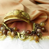 Charm Bracelet Handcrafted Bronze Band and Brown Chalcedony Beads