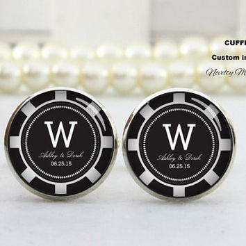 Customer Text name  and time , wedding cufflinks,,Best Gifts For Father, with Free Gift Box,