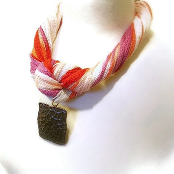Fiber Summer Statement Necklace, Nautical, Multicolor Pink, Orange, Coral, Ivory, Lavender Yarn, Large Metal Pendant, Lobster Clasp