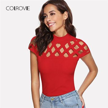 Red Casual Slim Cut Out Cap Sleeve Stretchy Top Tees Hightstreet Mock Neck Square Women Clothing 2018 Summer T-shirt