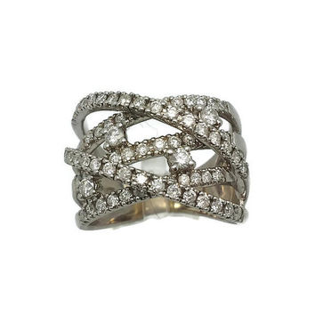 DIAMOND FASHION RING, Estate criss cross style diamond ring, diamond ring for her, gifts for her