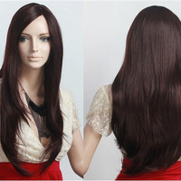 NAWOMI 4142 Women's Lace Front Brown Long Hair Wig (Brown)