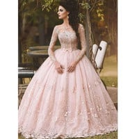 2016 Pink Long Sleeves Prom Dress Floor Length Ball Gown Prom Dress With Pleat Vestidos De Formatura Longo