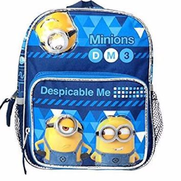 "Despicable Me Minions DM3 10"" Toddler Canvas Blue School Backpack"