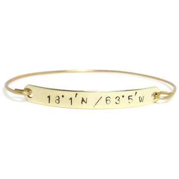 ROMAN NUMERALS - Personalized Gold Bangle Hand Stamped, Engraved Bracelet, Customized Gold Jewelry, Gold Bracelet, Monogramed