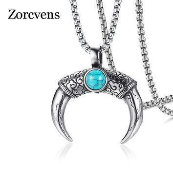 ZORCVENS Natural Stone Clouds Texture Stainless Steel Male Punk Jewelry Double Sides Wear Horns Shape Pendant Necklace For Men