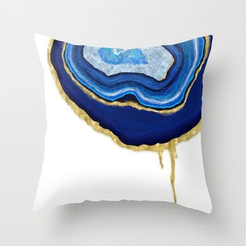 Blue Dripping Agate Throw Pillow by Noonday Design