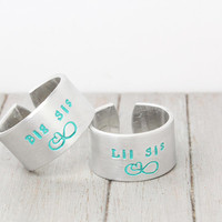 Stamped Sisters Rings, Big Sis Lil Sis Rings, Hand Stamped Rings, Sorority Jewelry, Personalized Jewelry, Hand Stamped Rings